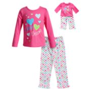 "Girls 4-14 Dollie & Me Sweet Dreams"" Heart Top & Bottoms Pajama Set"