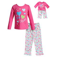 Girls 4-14 Dollie & Me Sweet Dreams' Heart Top & Bottoms Pajama Set