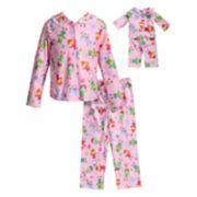 Girls 4-14 Dollie & Me Button Down Top & Bottoms Pajama Set