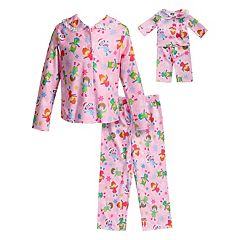 Girls 4-14 Dollie & Me Button Down Top & Bottoms Pajama Set