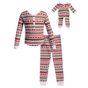 Girls 4-14 Dollie & Me Striped Henley Top & Bottoms Pajama Set