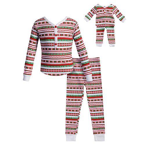 Girls 4-14 Dollie & Me Striped Henley Top & Bottoms Pajama Set