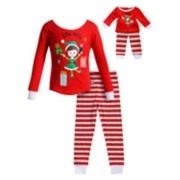 "Girls 4-14 Dollie & Me ""Elfie Selfie"" Elf Striped Top & Bottoms Pajama Set"