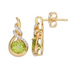 14k Gold Over Silver Peridot & Lab-Created White Sapphire Teardrop Twist Earrings