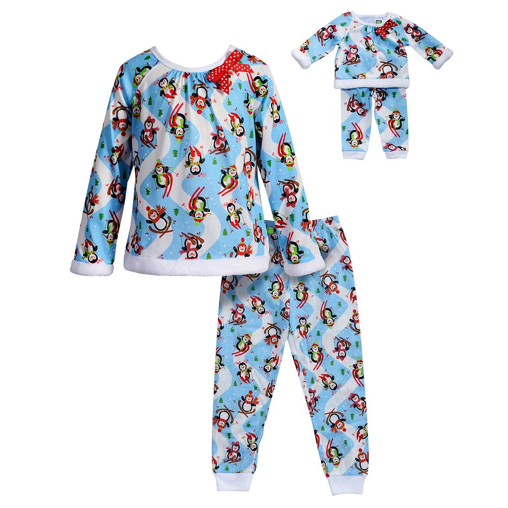 5b2195f37 Girls 4-14 Dollie   Me Snowmen Raglan Top   Bottoms Pajama Set