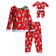 Girls 4-14 Dollie & Me Snowmen Raglan Top & Bottoms Pajama Set