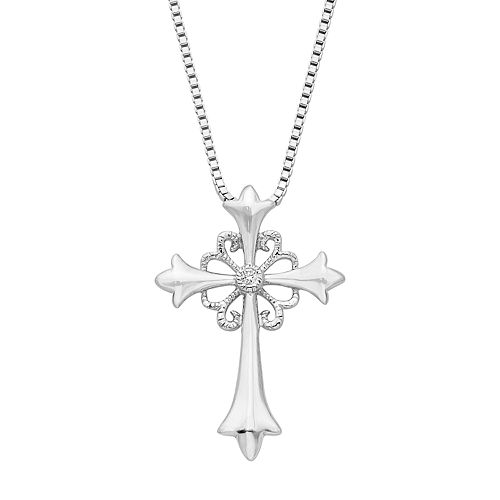 Boston Bay Diamonds Sterling Silver Diamond Accent Cross Pendant