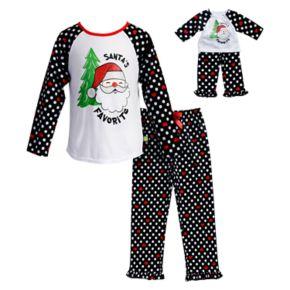 "Girls 4-14 Dollie & Me ""Santa's Favorite"" Santa Top & Bottoms Pajama Set"