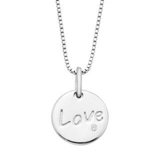 """Boston Bay Diamonds Sterling Silver Diamond Accent """"Love"""" Disc Pendant"""
