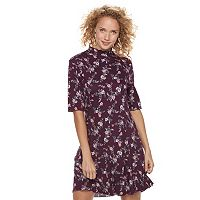 Juniors' Wallflower Floral Mockneck Shift Dress