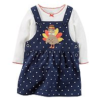Baby Girl Carter's Turkey Applique French Terry Thanksgiving Jumper & Bodysuit Set