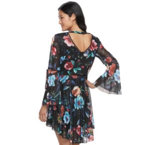 Juniors' Up by ultra pink Floral High-Low Skater Dress