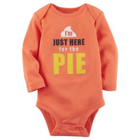 "Baby Carter's Embroidered ""I'm Just Here for the Pie"" Thanksgiving Bodysuit"