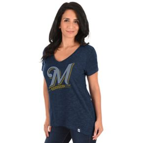 Women's Majestic Milwaukee Brewers Check the Win Tee