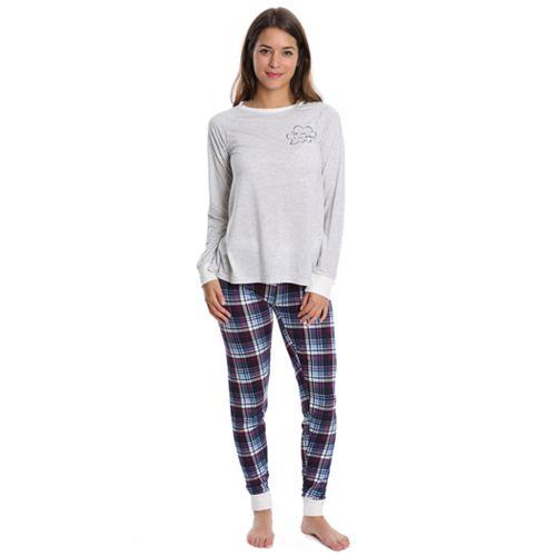 Juniors' Wallflower Pajamas: Long Sleeve Tee & Jogger Pants PJ Set