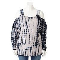 Plus Size Rock & Republic® Tie-Dye Cold-Shoulder Sweater