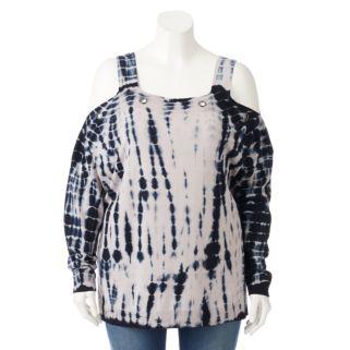 Plus Size Rock & Republic® Tie-Dye Cold-Shoulder Sweater