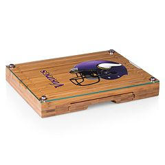 Picnic Time Minnesota Vikings Concerto Bamboo Cutting Board and Cheese Tools Set