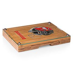 Picnic Time Tampa Bay Buccaneers Concerto Bamboo Cutting Board and Cheese Tools Set