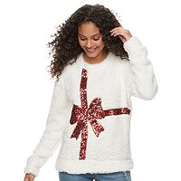 Juniors' Miss Chievous Holiday Sherpa Pullover