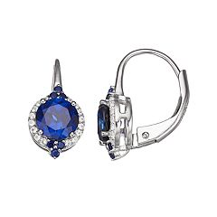 Sterling Silver Lab-Created Sapphire Leverback Earrings