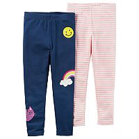 Baby Girl Carter's 2-pk. Striped & Smiley Face Leggings