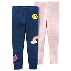 Baby Girl Carter's 2 pkStriped & Smiley Face Leggings