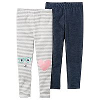 Baby Girl Carter's 2 pkStriped & Denim-Like Leggings