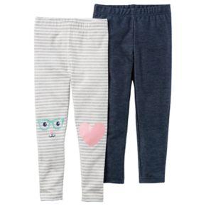 Baby Girl Carter's 2-pk. Striped & Denim-Like Leggings