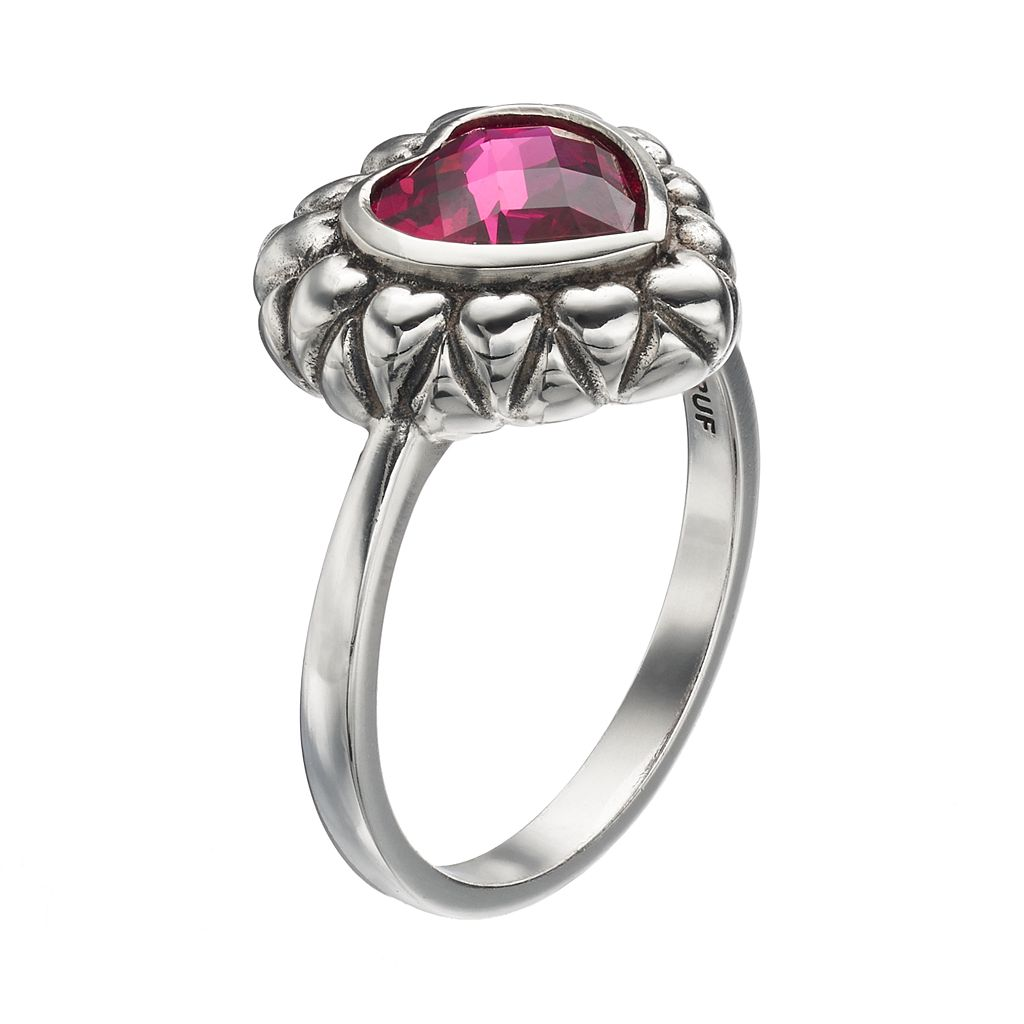 Adora Sterling Silver Lab-Created Ruby Heart Ring