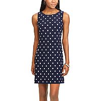 Women's Chaps Polka-Dot Sheath Dress