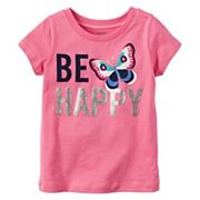 Baby Girl Carter's 'Be Happy' Glittery Butterfly Graphic Short-Sleeve Tee