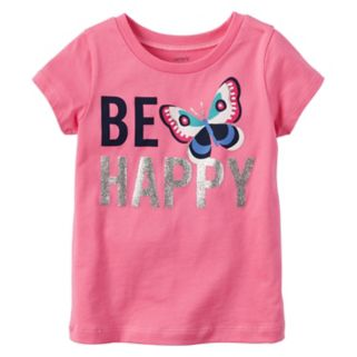 "Baby Girl Carter's ""Be Happy"" Glittery Butterfly Graphic Short-Sleeve Tee"