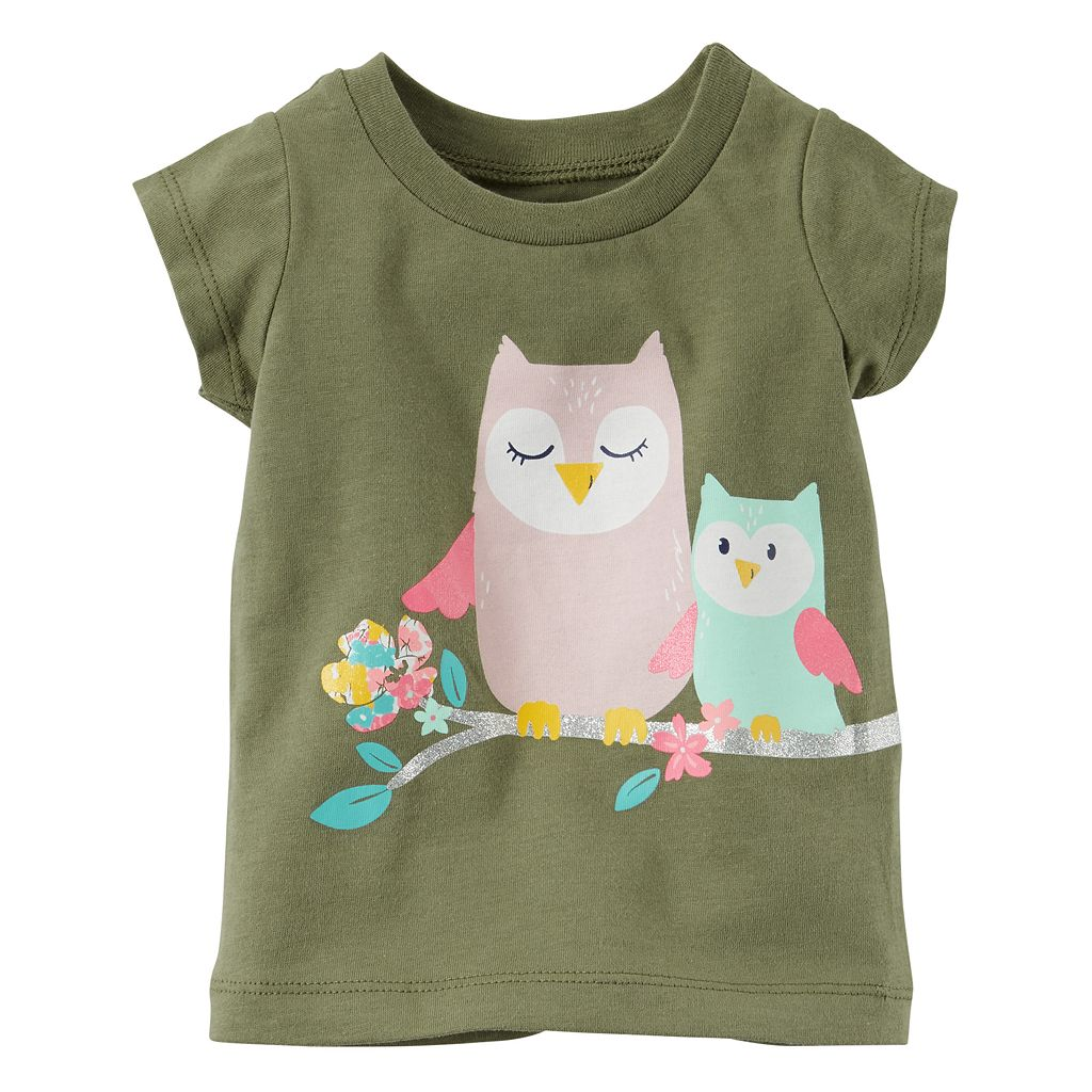 Baby Girl Carter's Glittery Owl Graphic Short-Sleeve Tee