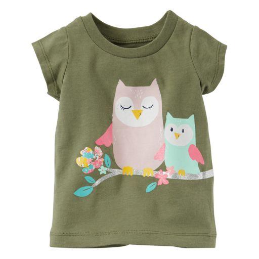Baby Girl Carter's Glittery Owl Graphic Short-Sleeve Tee