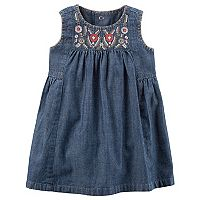 Baby Girl Carter's Embroidered Chambray Dress