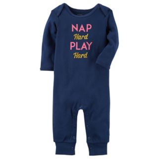 "Baby Girl Carter's ""Nap Hard Play Hard"" Coverall"