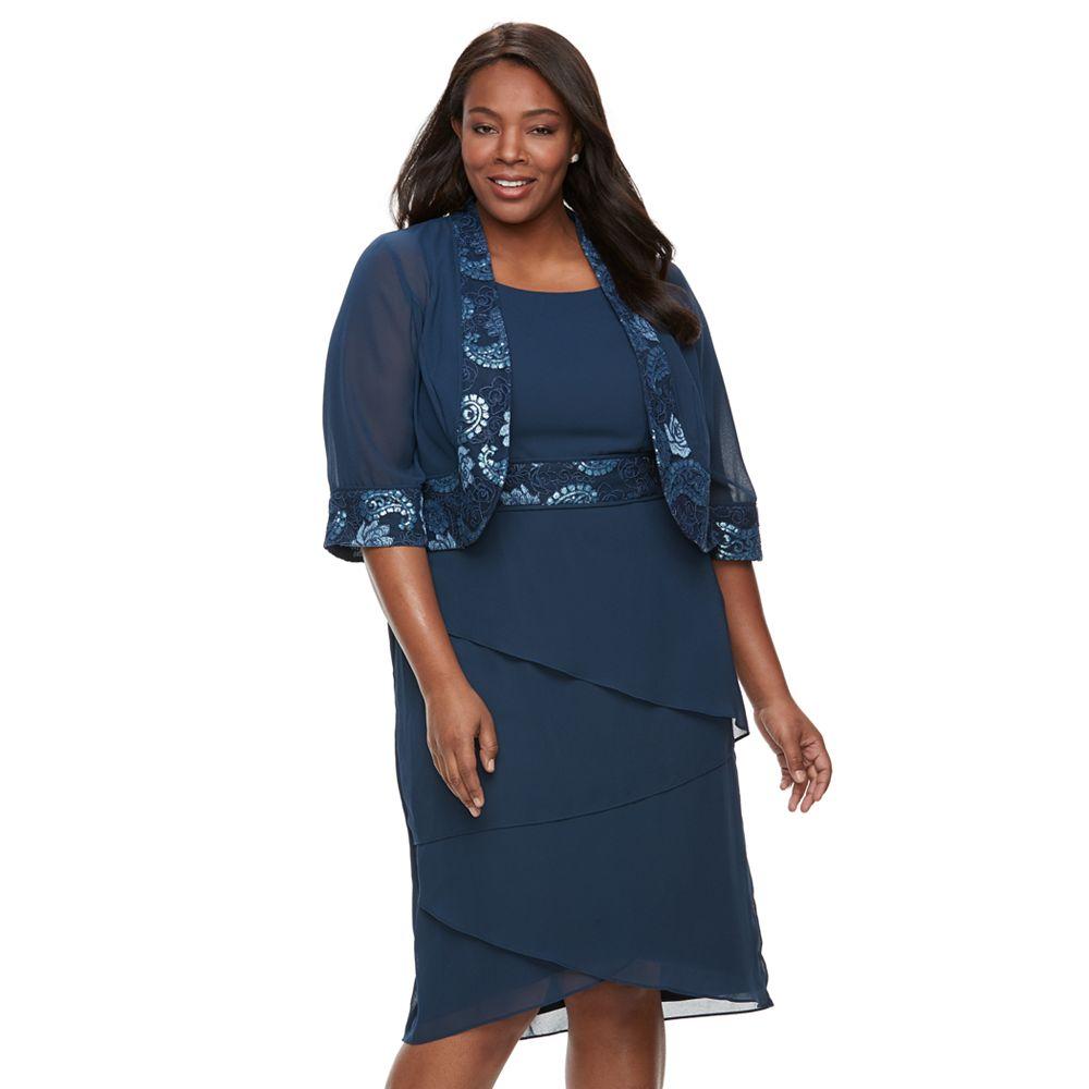 Plus Size Le Bos Lace-Trim Jacket & Tiered Dress