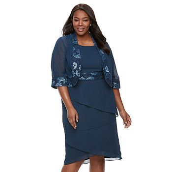 Plus Size Le Bos Lace Trim Jacket Tiered Dress Null
