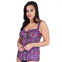 Plus Size Mazu Swim Tummy Slimmer Drape Tankini Top