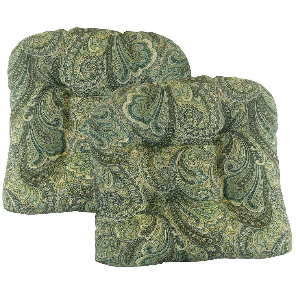 Metje 2-pack Indoor Outdoor Reversible Tufted Seat Pad Cushion Set