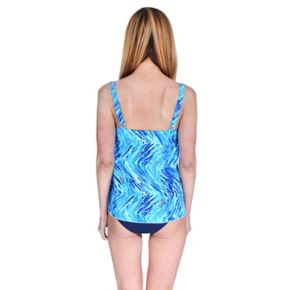 Plus Size Mazu Swim Tummy Slimmer Paisley Drape Tankini Top
