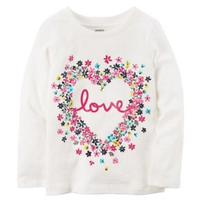 """Baby Girl Carter's Floral """"Love"""" Graphic Long-Sleeve Tee"""
