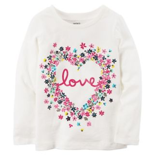 "Baby Girl Carter's Floral ""Love"" Graphic Long-Sleeve Tee"
