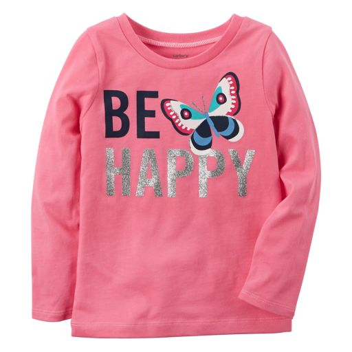 """Baby Girl Carter's """"Be Happy"""" Glittery Butterfly Graphic Long-Sleeve Tee"""