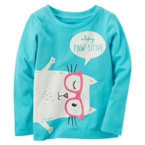"""Baby Girl Carter's """"Stay Paw-sitive"""" Cat Graphic Long-Sleeve Tee"""