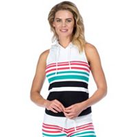 Women's PL Movement by Pink Lotus Beachfront Stripe Sleeveless Yoga Hoodie