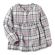 Baby Girl Carter's Sparkly Button-Down Plaid Top