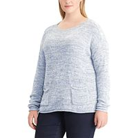Plus Size Chaps Marled Boatneck Sweater