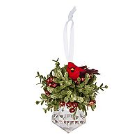 Holiday Kissing Krystals Artificial Mistletoe Cardinal Faceted Christmas Ornament